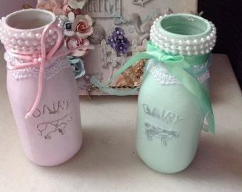 2 MILK BOTTLE - Rustic Milk Bottle, Wedding, Girl's room, Bathroom, Country, Rustic, Glam, Tablescape, Vase