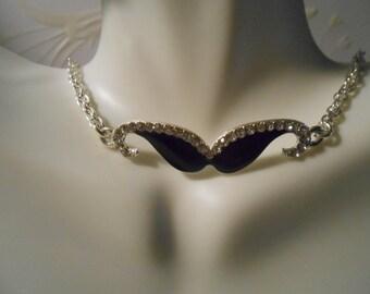 SideWay Necklace - BLACK RHINESTONE MUSTACHE Necklace