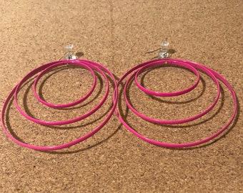 Pink Layered Rings Earrings