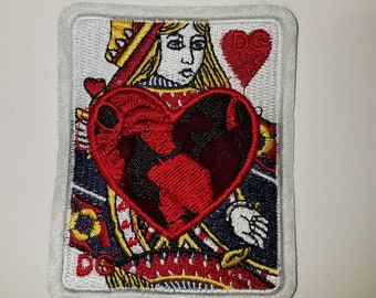 """Iron-On """"Queen of Hearts"""" embroidered playing card patches"""