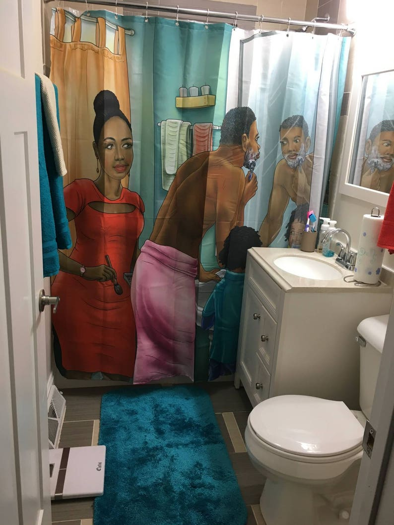 Afrocentric Fabric Shower Curtain Pride In Family