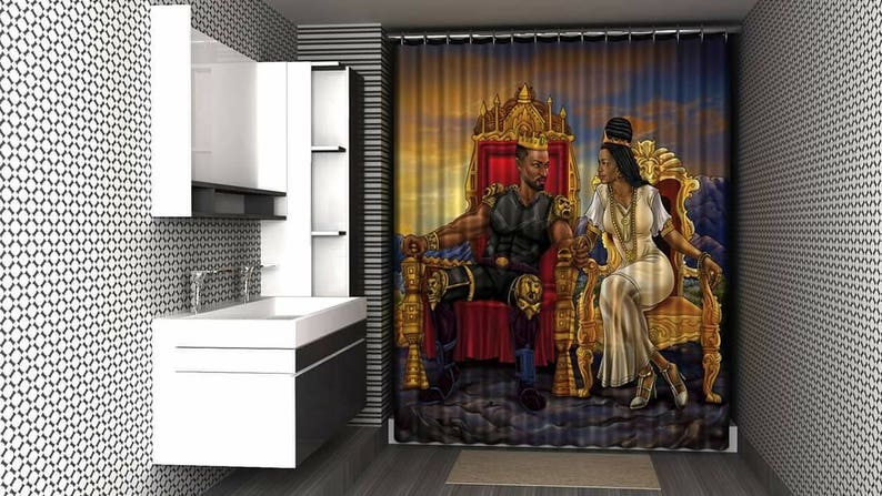 Afrocentric Cool Shower Curtain Royal And In