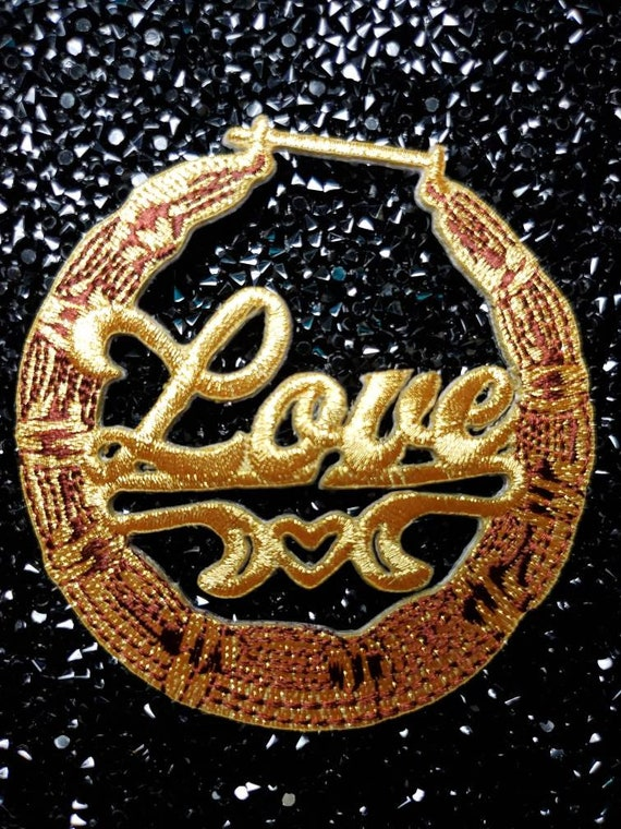 2-pc Gold Bamboo Earring Patch Set Bamboo Collection Iron-on Embroidered Appliques Door Knocker Earrings Cool Patches for Clothing