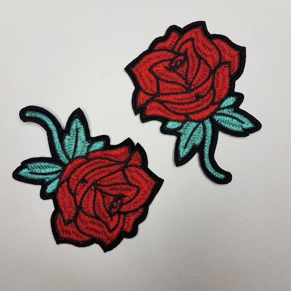 matching embroidered iron-on floral patches Flower Patches Red Rose Buds with teal stems Rose Embroider size 3-inches Floral 2 pc set