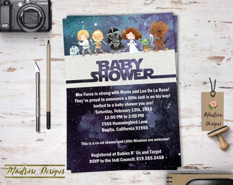 Watercolor Star Wars Baby Shower Birthday Party Invitation Outer Space Galaxy Hand Drawn DIGITAL FILE