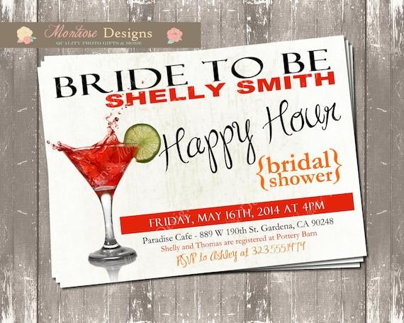 Happy Hour Bridal Shower Invite Splashing Martini DIGITAL