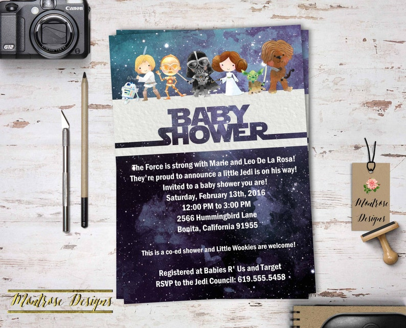 Watercolor Star Wars Baby Shower Birthday Party Invitation