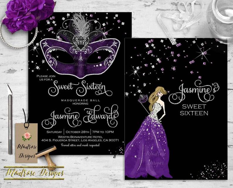 Masquerade Ball Invitation Sweet 16 Quinceanera Carnival Mask Purple Party Silver DIGITAL FILE