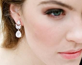 Swarovski Crystal Bridal Earrings DIEDRE Crystal Bridal Drop Earrings, Wedding Earrings Bridal Dangle Earrings Cubic Zirconia Earrings