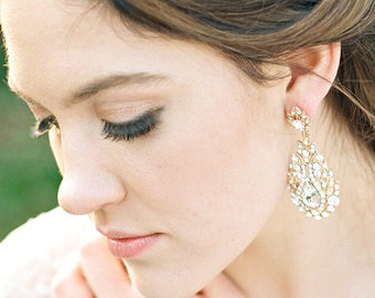 Bridal Earrings Swarovski Crystal Dangle Earrings GEORGINA Gold Bridal Dangle Earrings Crystal Earrings Wedding Jewelry Bridal Accessories