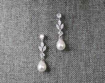 Bridal Earrings BLAISE Drop Earrings Swarovski Earrings CZ Earrings Dangle Earrings Pearl Wedding Earrings Bridal Earrings