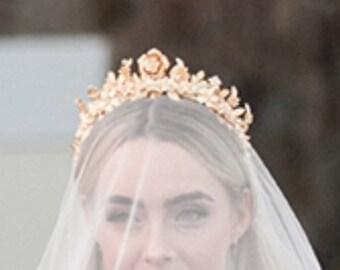 Tiara, Brass Tiara, Gold Tiara, Bridal Tiara, Wedding Tiara, The LAURYN Tiara Crown, Bridal Crown, Diadem, Tiara, Gold Tiara, Headpiece