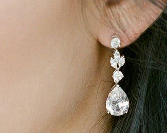 Bridal Earrings ADELIE Drop Earrings Swarovski Earrings CZ Earrings Dangle Earrings Chandelier Earrings Wedding Earrings Bridal Earrings