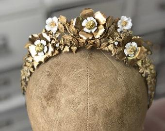 4ecfa1d37ed4 Brass Floral Bridal Tiara OLIVIA Brass Bridal Tiara Brass Leaves Wedding  Crown Child of Wild Inspired Bohemian Tiara Wild Child Bridal Tiara