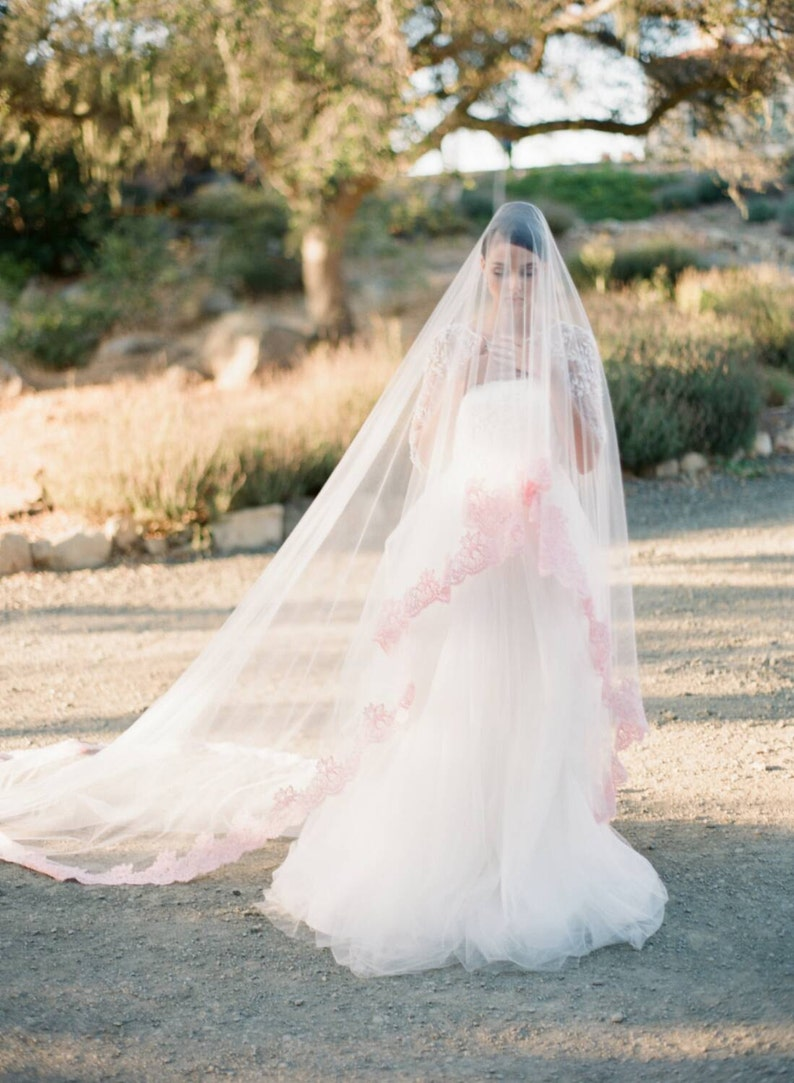 Blush Veil Blush Wedding Veil Cathedral Veil Bridal Veil | Etsy