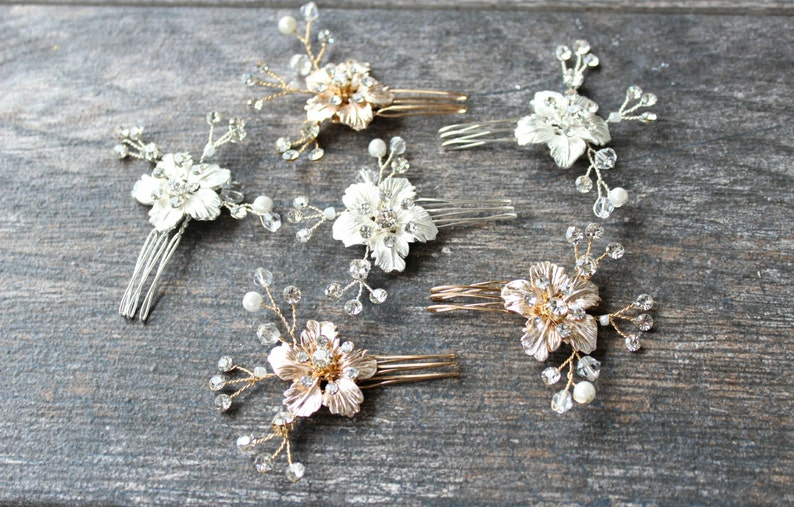 Rose Gold Hairpins Small Rose Gold Comb Gold Headpiece RoseGold Flower Hairpins Rose Gold Crystal Hairpin GILDED BLOSSOM Bridal Hairpin