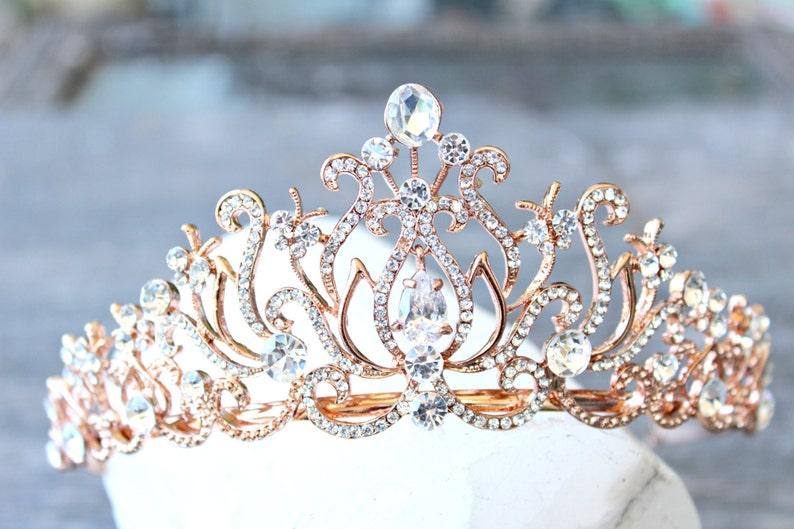 27a712f27 Bridal Tiara Crystal Rose Gold Tiara CAROLINE Swarovski   Etsy