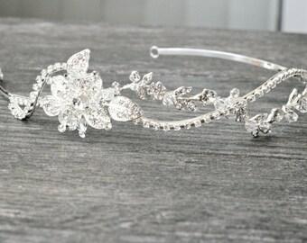 Crystal Bridal Headband, OLWEN Wave Tiara Headband, Swarovski Crystal Bridal Headband, Rhinestone Tiara, Diamante Headband,Wedding Tiara
