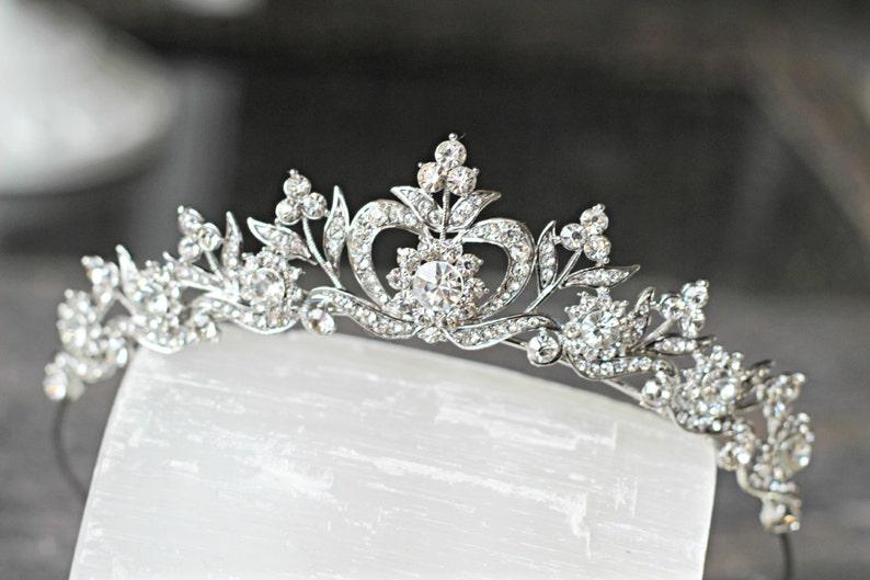 Bridal Tiara Crystal Heart Tiara  DIANA Swarovski Bridal image 0