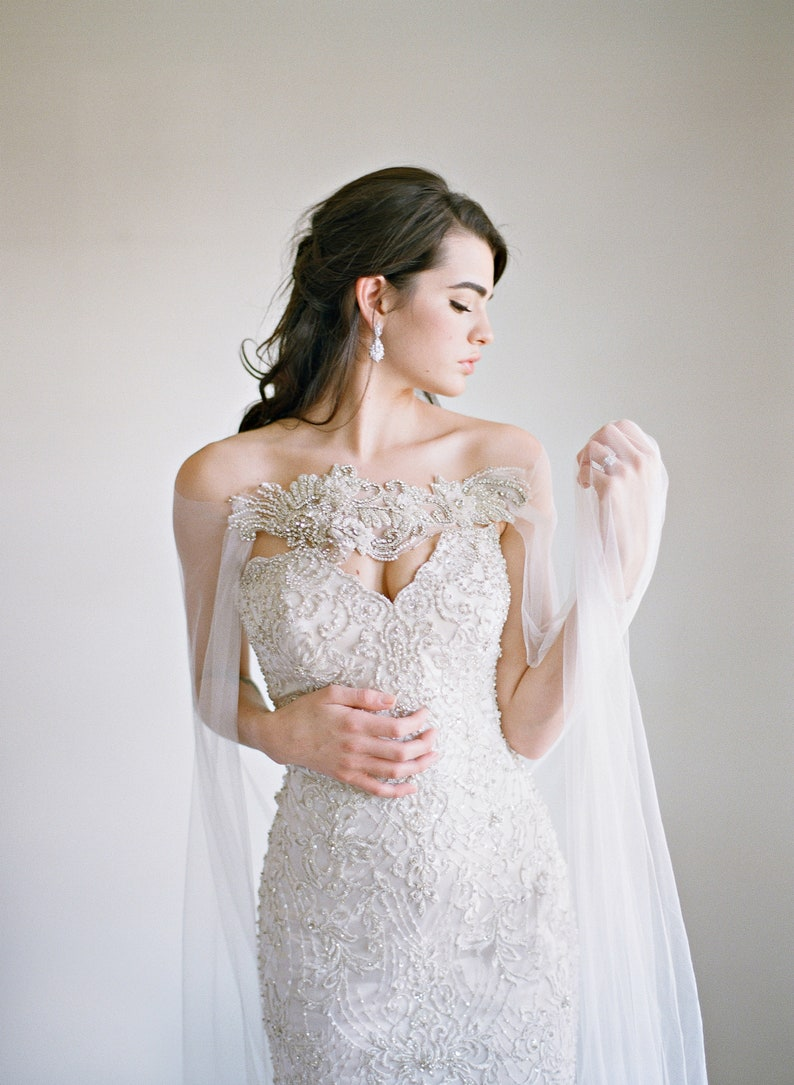 beaded applique bridal cape