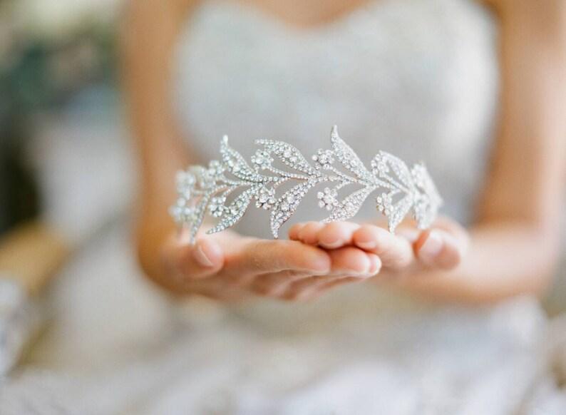 Bridal Tiara   Lady MARY Swarovski Bridal Tiara Leaf Tiara image 0