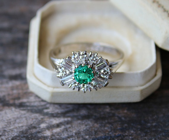 Vintage Engagement Ring Emerald Engagement Ring Vi