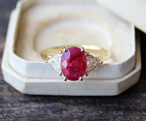 Ruby Engagement Ring Ruby and Diamond Engagement R