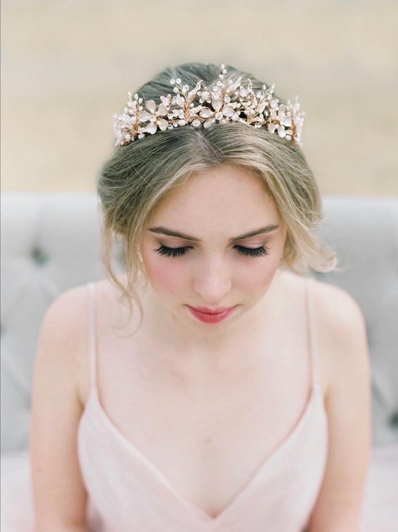 7b205aeb089 Bridal Tiara GENEVIEVE Tiara Rose Gold Crystal Wedding Crown