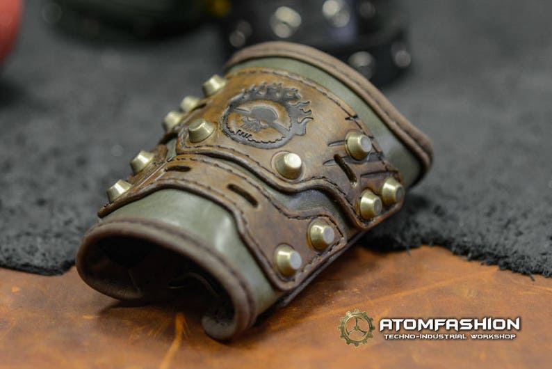 Mad Max leather bracer in post apocalyptic style