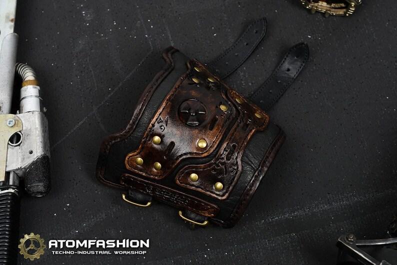 Apocalypse cinder leather bracer in post apocalyptic style