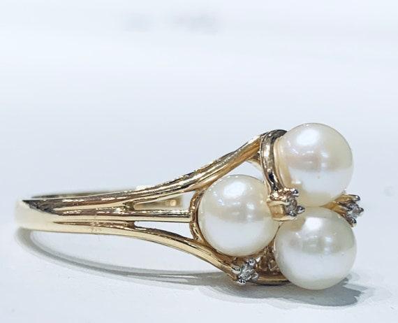 Pearl Ring 14K Diamond Ring Pearl Ring Diamond Eng