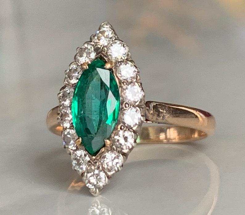Emerald Ring Antique Vintage Emerald Engagement Ring Diamond image 0
