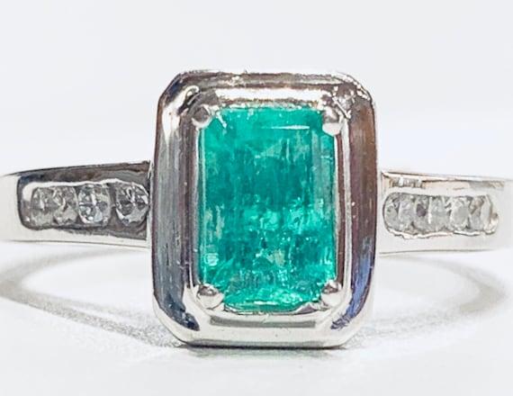 Platinum Emerald Ring Vintage Emerald Engagement R