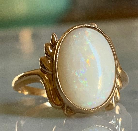 Opal Ring Australian Opal Engagement Ring 10K Soli