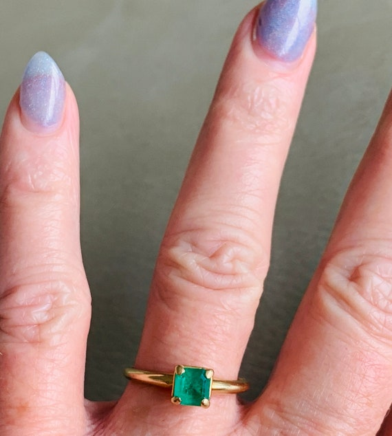 Emerald Ring 14k Emerald Engagement Ring Vintage … - image 8