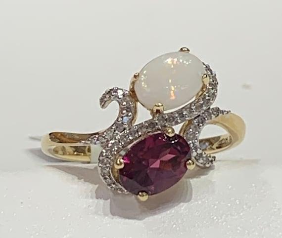 Opal Ring 14k Opal and Garnet Engagement Ring 14K