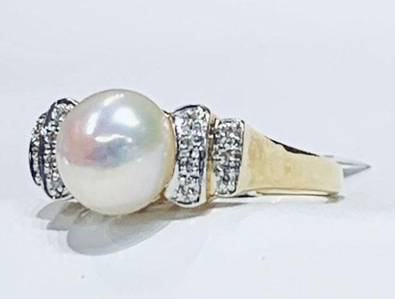 Pearl Ring 14k Diamond Pearl Engagement Ring Pearl