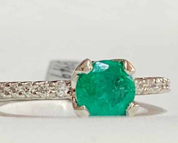 Emerald Ring Platinum Colombian Emerald Diamond E… - image 10