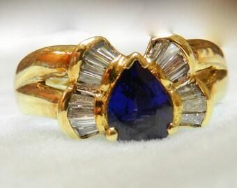 18K Blue Sapphire Ring Vintage Sapphire Engagement Ring 18K Diamond Halo Ring Blue Sapphire Art Deco Engagement Ring September Birthday Gift