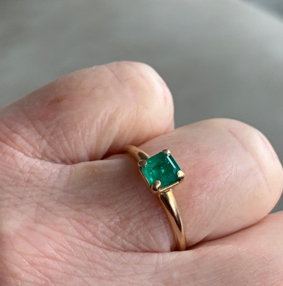 Emerald Ring 14k Emerald Engagement Ring Vintage … - image 10