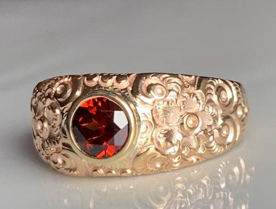 Antique Garnet Ring 14K Victorian Garnet Ring Repo