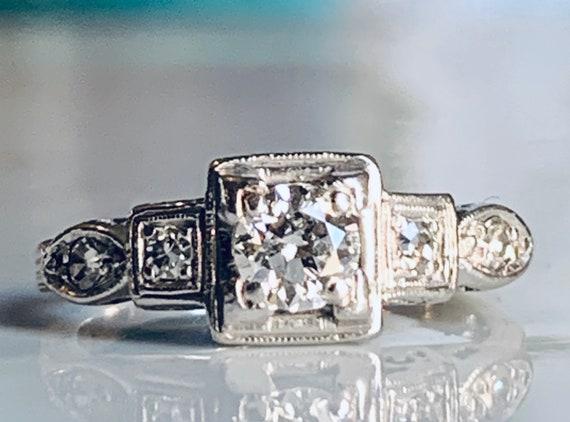 Engagement Ring Diamond Platinum Old European Cut