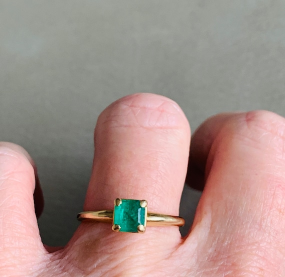 Emerald Ring 14k Emerald Engagement Ring Vintage … - image 9
