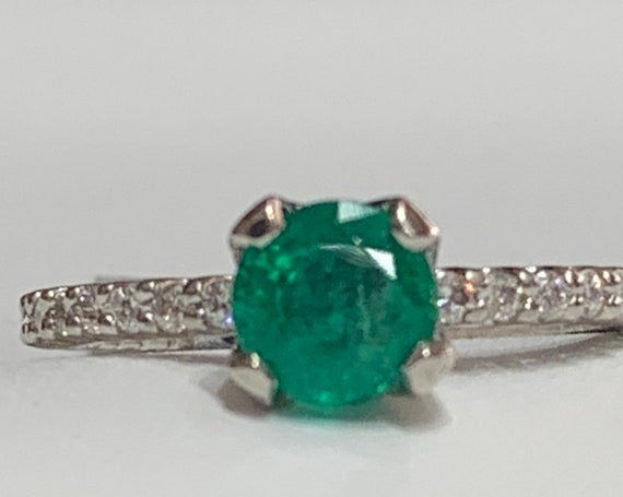 Emerald Ring Platinum Colombian Emerald Diamond E… - image 3
