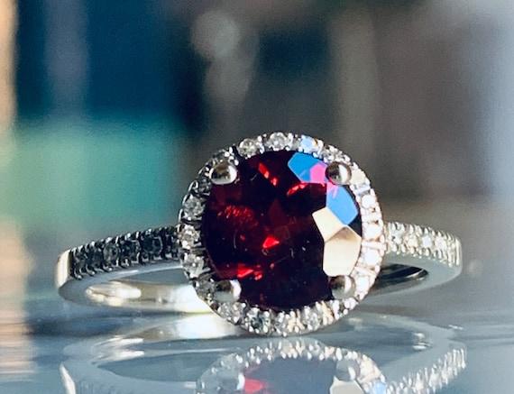 Garnet Ring 14K Garnet Diamond Garnet Ring White G