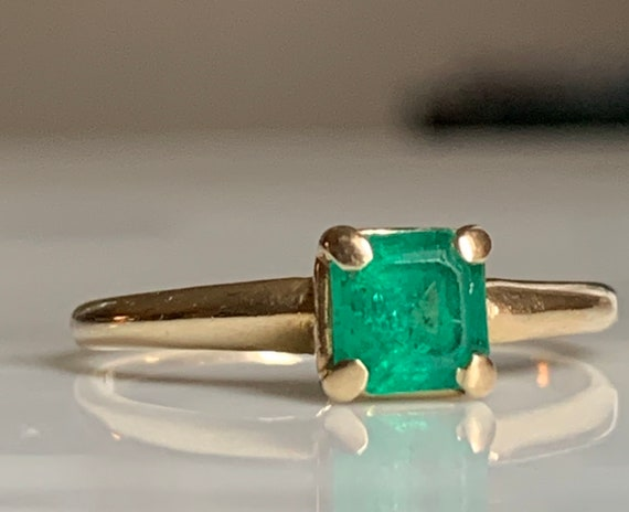 Emerald Ring 14k Emerald Engagement Ring Vintage … - image 3
