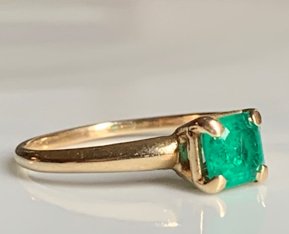 Emerald Ring 14k Emerald Engagement Ring Vintage … - image 7