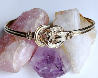 Vintage Zolotas Hurcules love reef knot with 3 flowers cuff bracelet gold gilt over 950 silver early piece
