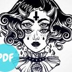 Cross Stitch Pattern - Weird Girl , PDF Cross Stitch Chart, Low Brow, all one colour, black, large, Goth