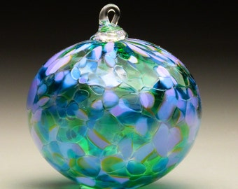 blown glass ornament, sun catcher, hand made blown glass Christmas ornament in tones of lavender, purple, and green, Lavender